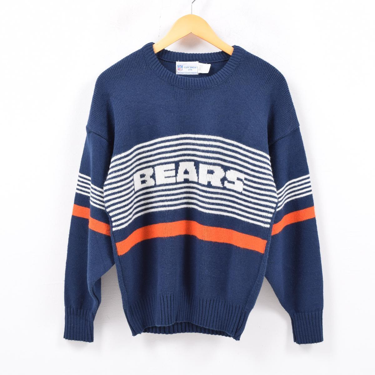 reputable site ba782 717b0 80~90 generation CLIFF ENGLE LTD. Men M vintage /wbc4809 made in NFL  CHICAGO BEARS Chicago Bears wool blend acrylic knit sweater USA