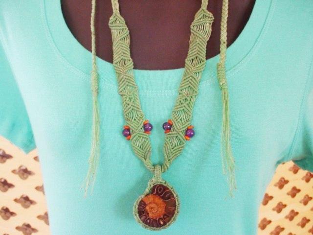 パワーストーン/天然石 アジアンファッションヒッピースタイル アクセサリー*アンモナイト ネックレス