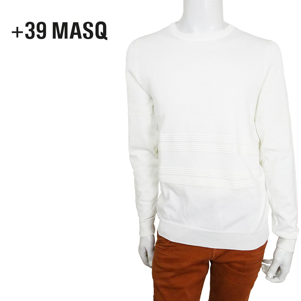 【50%OFF】+39 masq (マスク) クルーネックセーター [メンズ] CCZ205-206/2045【WHT/S・M・L・XL・XXL・XXXLサイズ】 ホワイト コットンセーター サマーニット イタリア製【あす楽】【店頭受取対応商品】
