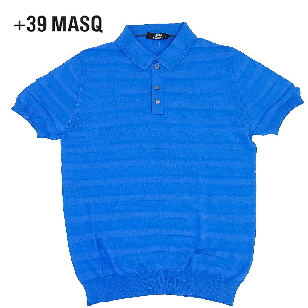 【40%OFF】+39 masq (マスク) ショートスリーブニットポロシャツ [メンズ] 2061【BLU(590)/S・M・L・XL・XXL・XXXLサイズ】 ブルー ボーダー 半袖 ストレッチ イタリア製【店頭受取対応商品】【あす楽】