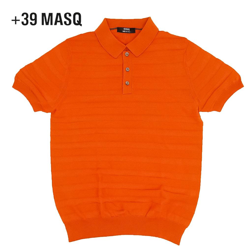 【40%OFF】+39 masq (マスク) ショートスリーブニットポロシャツ [メンズ] 2061【ORG(550)/S・M・L・XL・XXL・XXXLサイズ】オレンジ ボーダー 半袖 ストレッチ イタリア製【店頭受取対応商品】【あす楽】