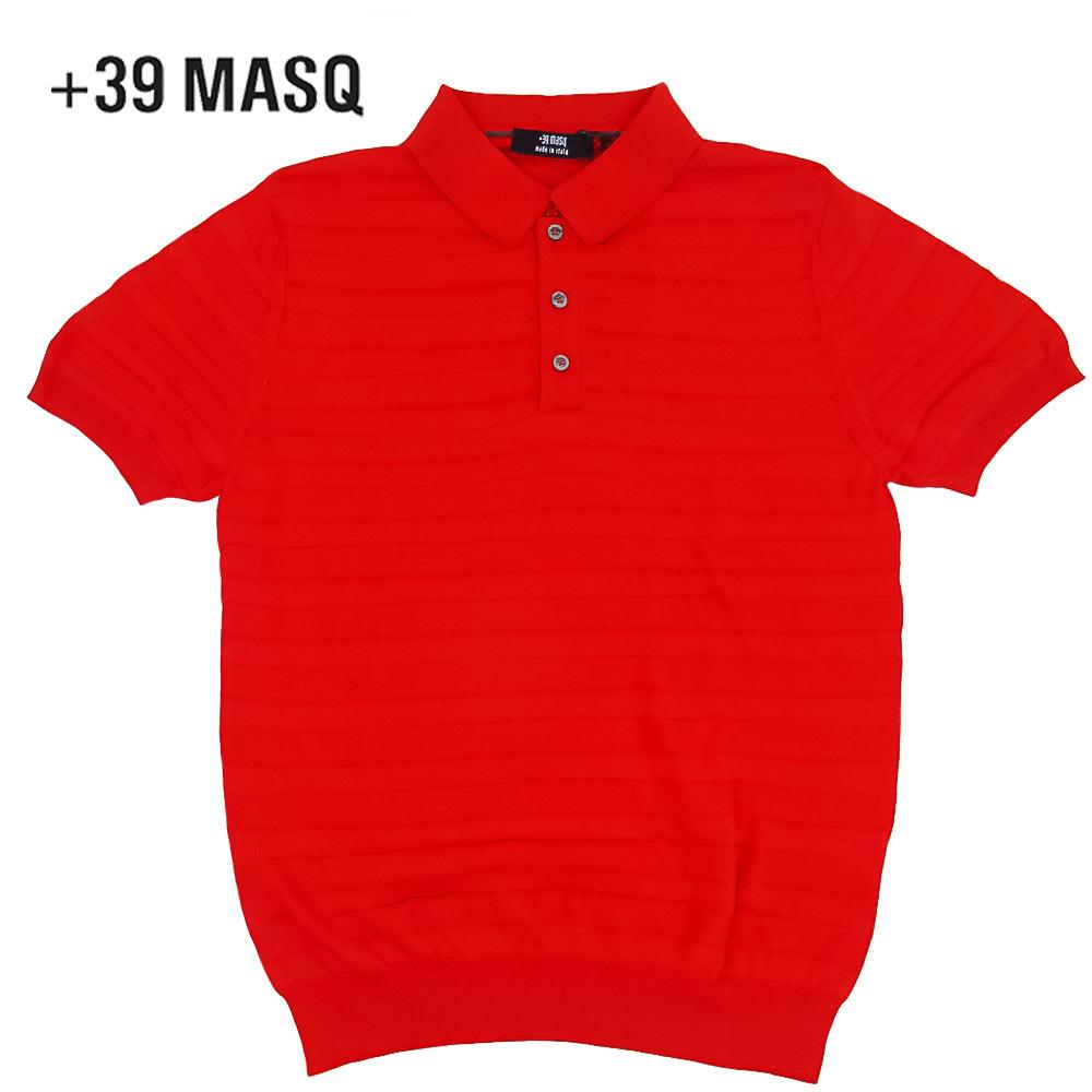【50%OFF】+39 masq (マスク) ショートスリーブニットポロシャツ [メンズ] 2061【RED(500)/S・M・L・XL・XXL・XXXLサイズ】 レッド ボーダー 半袖 ストレッチ イタリア製【あす楽】【店頭受取対応商品】