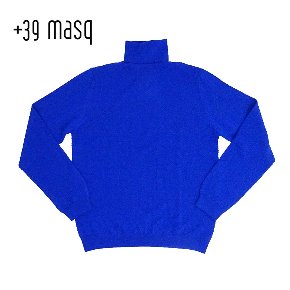 【50%OFF】+39 masq (マスク) タートルネックセーター [メンズ] 4101【BLU(670)/S・M・L・XL・XXLサイズ】 ブルー メリノウール イタリア製【あす楽】【店頭受取対応商品】