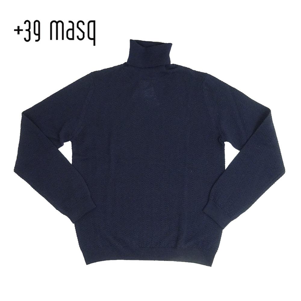 【50%OFF】+39 masq (マスク) タートルネックセーター [メンズ] 4101【NVY(650)/S・M・L・XL・XXLサイズ】 ネイビー メリノウール イタリア製【あす楽】【店頭受取対応商品】