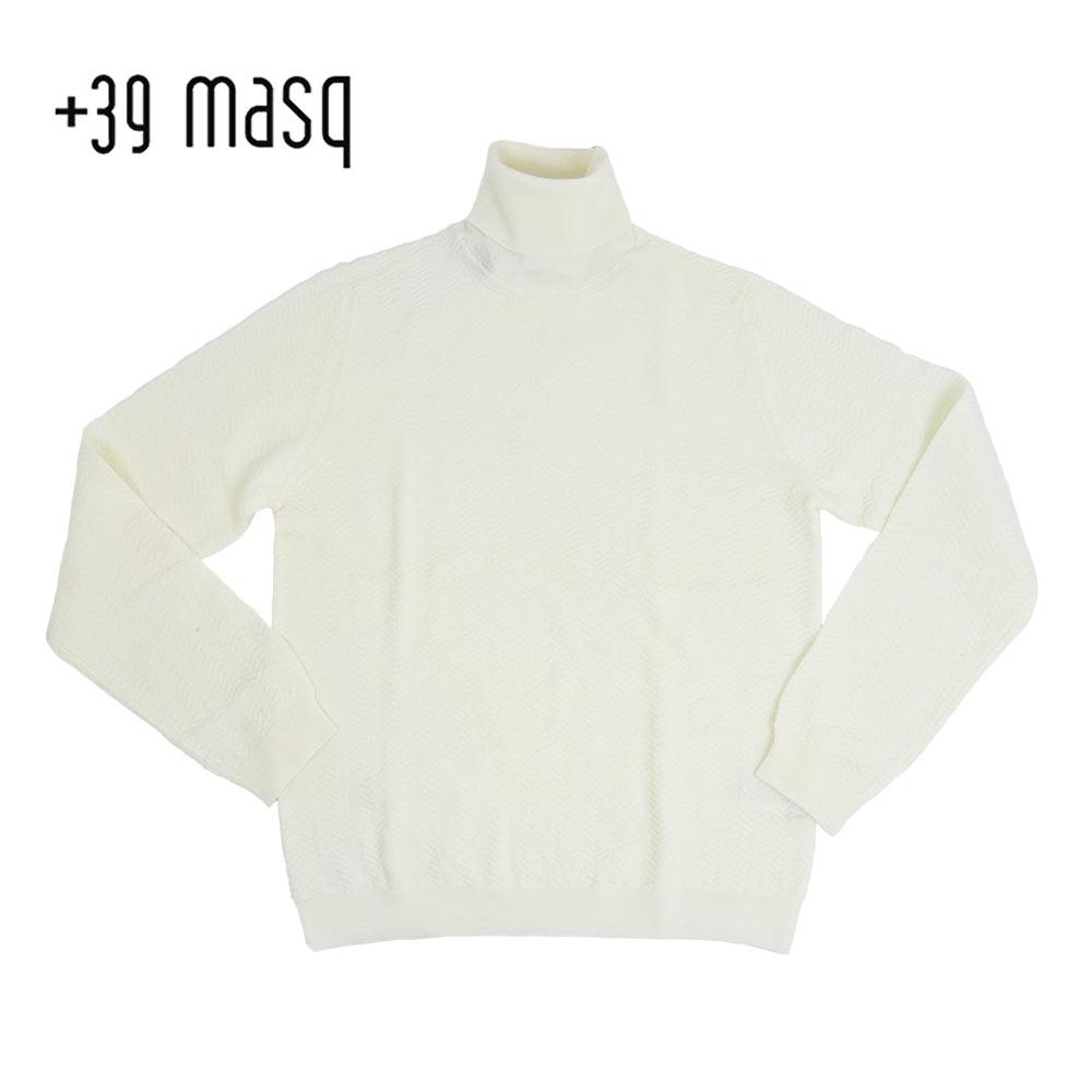 【50%OFF】+39 masq (マスク) タートルネックセーター [メンズ] 4101【WHT(125)/S・M・L・XL・XXLサイズ】 ホワイト メリノウール イタリア製【あす楽】【店頭受取対応商品】
