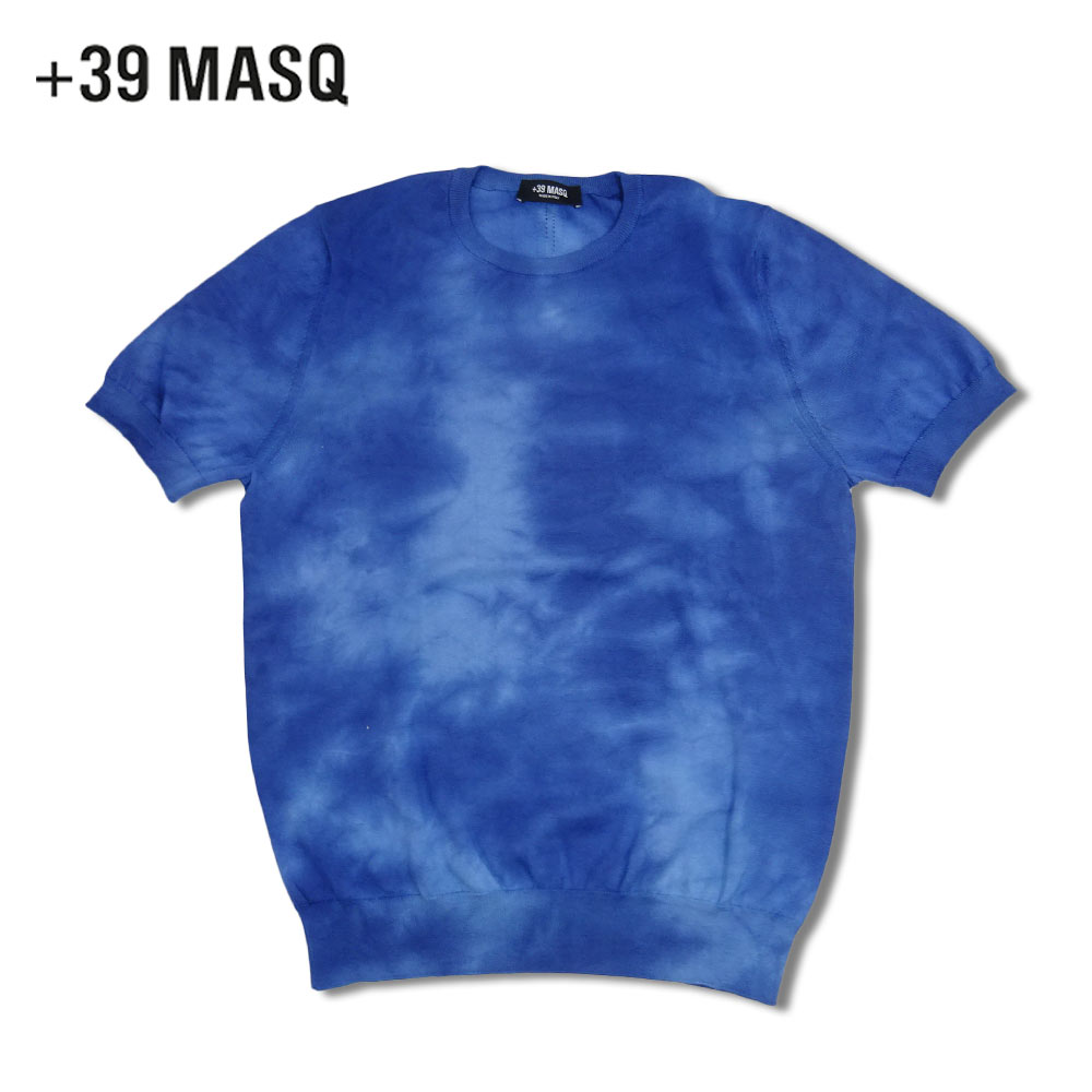 【40%OFF】+39 masq (マスク) ニットTシャツ [メンズ] 6016【BLU(1013)/S・M・L・XLサイズ】ブルー タイダイ染め クルーネック Tシャツ コットンニット イタリア製【あす楽】【店頭受取対応商品】