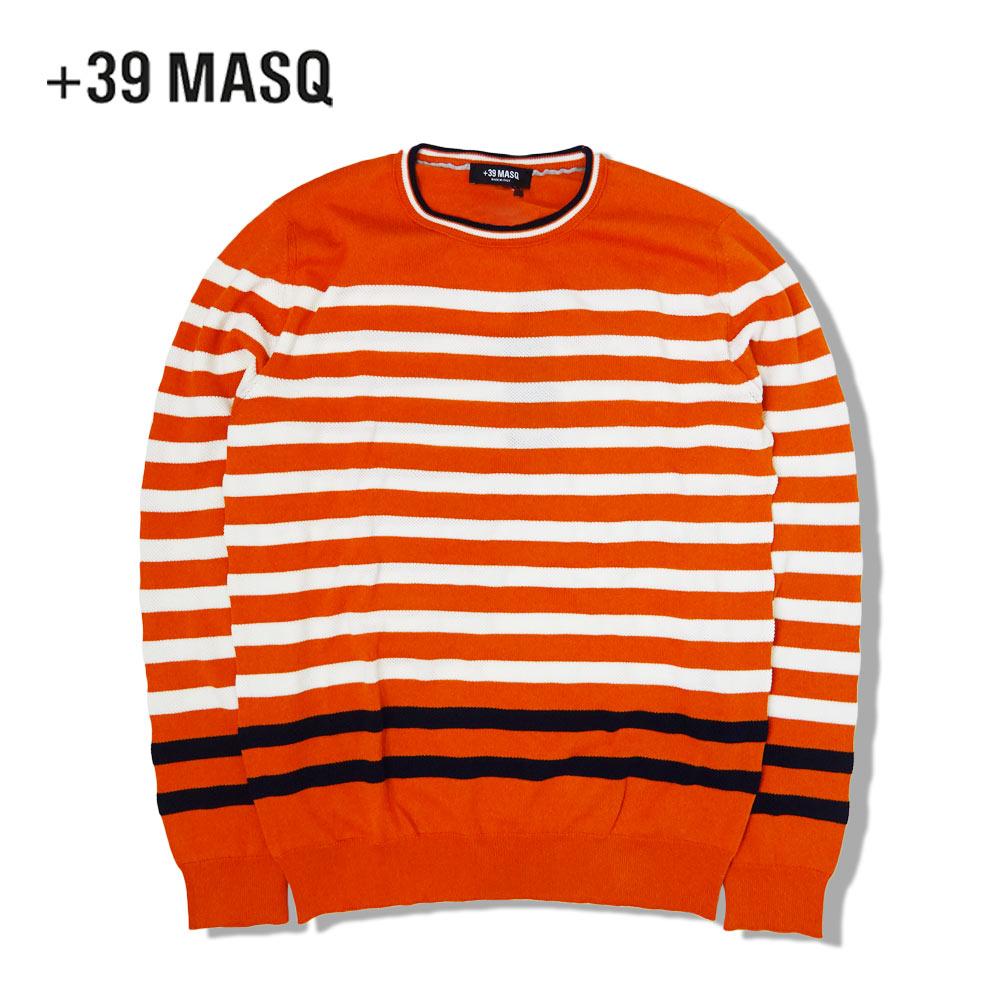 +39 masq (マスク) ボーダーニットセーター [メンズ] 6042【ORG(1090)/S・M・L・XLサイズ】オレンジ コットン サマー セーター イタリア製