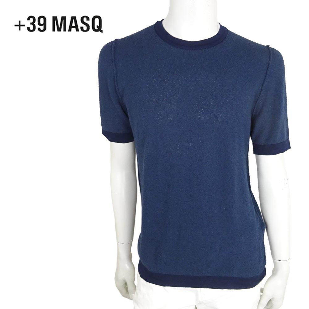 【40%OFF】+39 masq (マスク) ニットTシャツ [メンズ] 6401【NVY(1898)/S・M・Lサイズ】ネイビー クルーネック  Tシャツ コットンニット イタリア製【あす楽】【店頭受取対応商品】