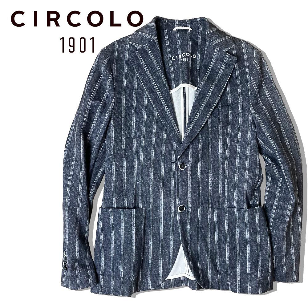 【40%OFF】CIRCOLO 1901 (チルコロ) シングル ジャケット [メンズ] CN2576【NVY/44・46・48・50・52サイズ】ジャージジャケット ストレッチ ストライプ Safari LEON 掲載ブランド【あす楽】【店頭受取対応商品】