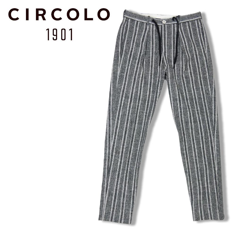 【20%OFF】CIRCOLO 1901 (チルコロ) ストライプ パンツ [メンズ] CN2605【BLK/44・46・48・50サイズ】 トラウザー コードパンツ ストレッチ Safari LEON 掲載ブランド