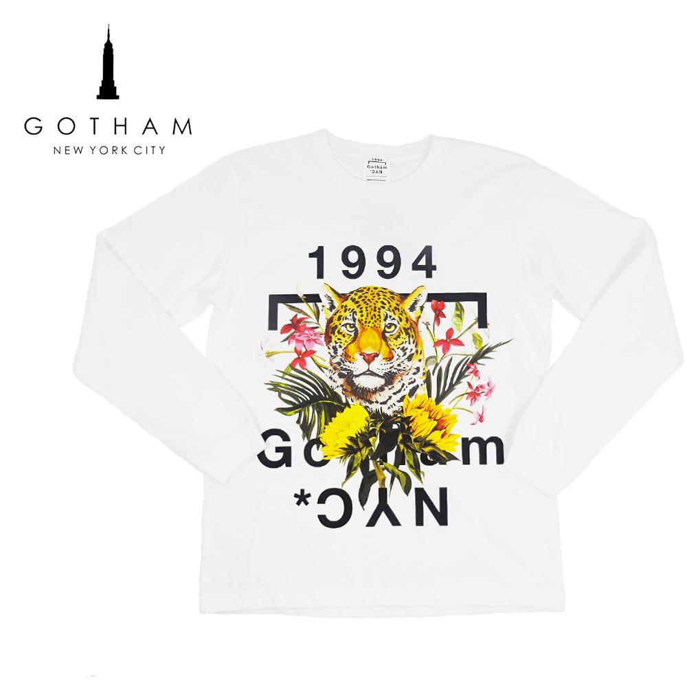 【20%OFF】【ネコポス対応】GOTHAM NYC(ゴッサム) LEOLOGO-LTS [メンズ] GN-216【WHT/M・Lサイズ】ホワイト 長袖 ロゴ Tシャツ【店頭受取対応商品】【あす楽】