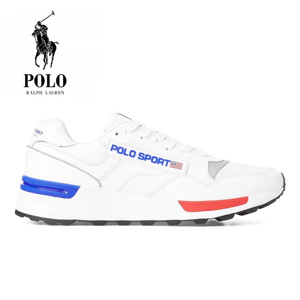 POLO RALPH LAUREN(ポロ ラルフローレン) Trackster 100 Leather Sneaker [メンズ] 809755987001【WHT/26cm(US8)-27.5cm(US9.5)】 トラックスター レザー スニーカー