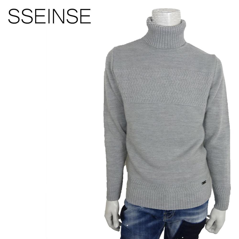 SSEINSE (センス) タートルネック セーター [メンズ] MI1134SS 【GRY/S・M・Lサイズ】 ジャガード編み ローゲージ ニット【あす楽】【店頭受取対応商品】