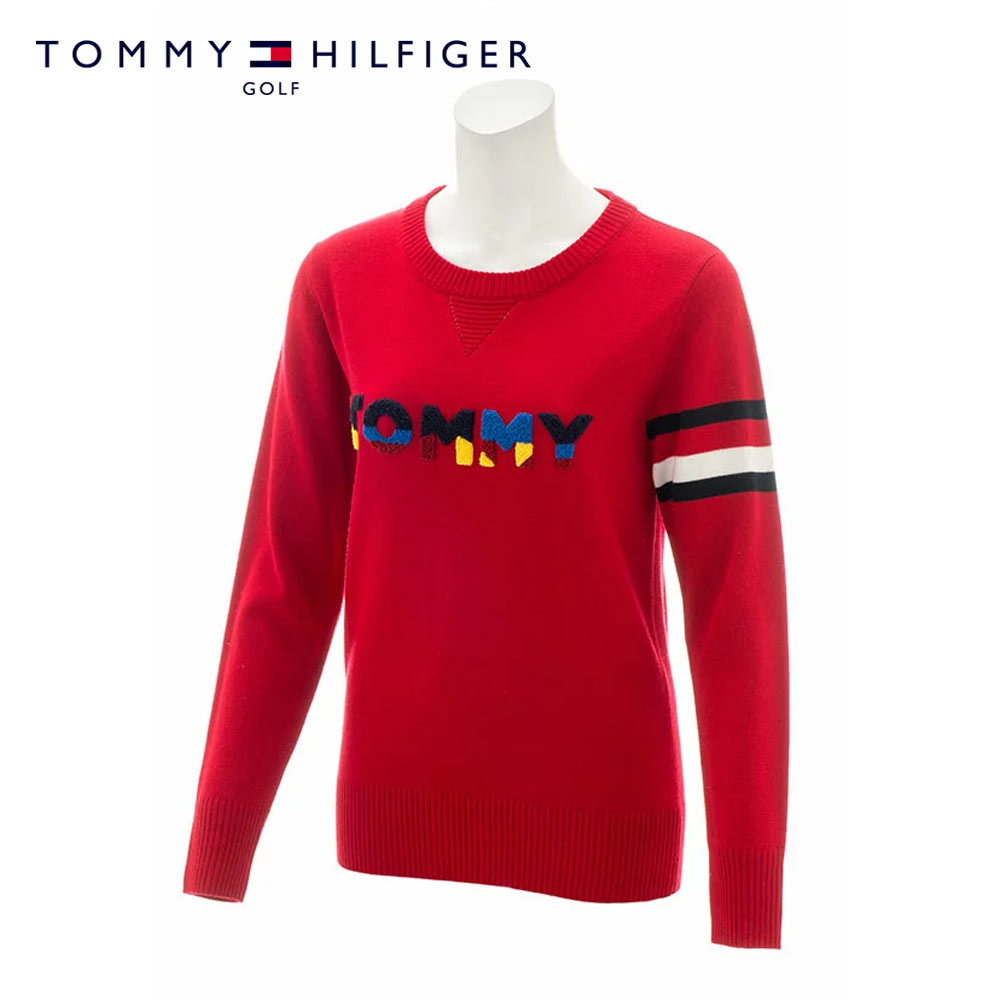 TOMMY HILFIGER GOLF(トミーヒルフィガー ゴルフ) ニット[レディース] THLA874【RED(40) /M・Lサイズ】ゴルフウェア ニット ロゴ レッド【あす楽】【店頭受取対応商品】