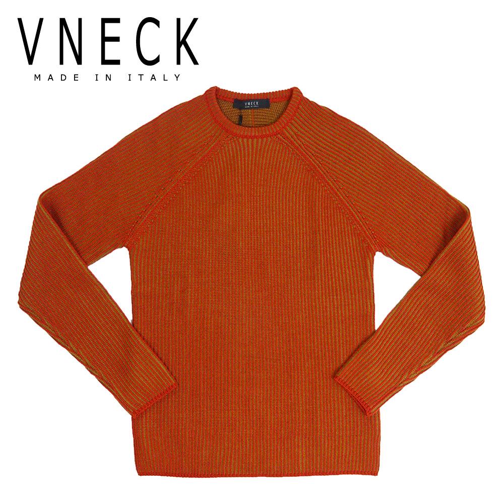 【50%OFF】VNECK (ヴイネック) クルーネック セーター [メンズ] VN1911007G 【RED/46・48・50・52サイズ】  メリノウール100% ニット リブ編み イタリア製【あす楽】【店頭受取対応商品】