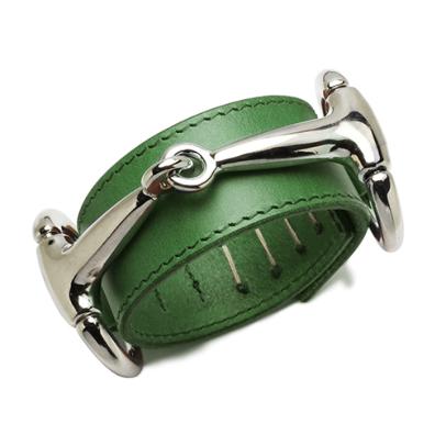 JAM HOME MADE ジャムホームメイド ビットレザーブレスレット L -GREEN- 本革 シルバー 上質 高級インポートレザー ブッテーロ バングル ベルト 留め具 ユニセックス メンズ レディース 男性 女性 グリーン 緑 カラー
