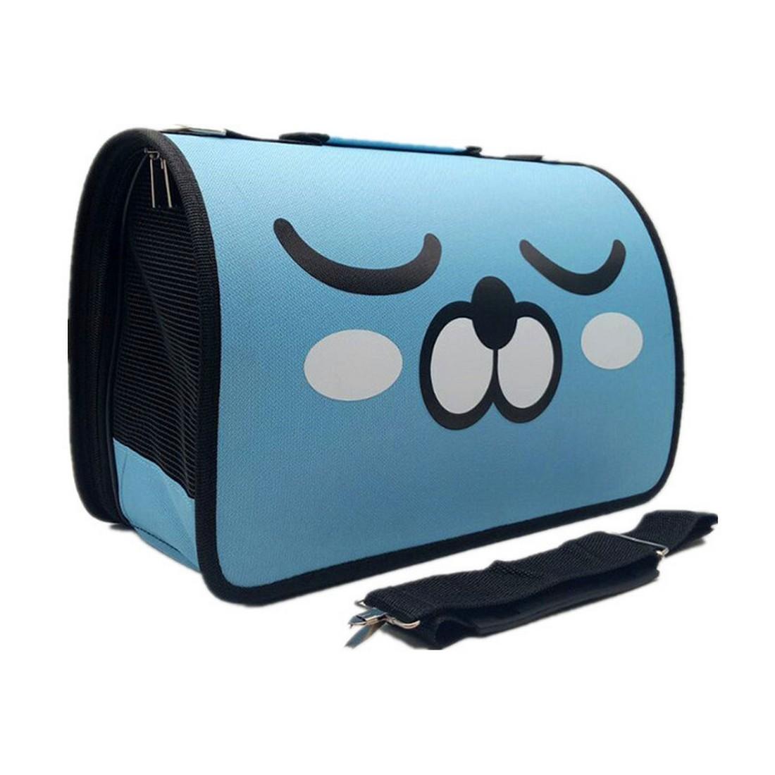 ペット用キャリーバッグ 通気性 ドッグバッグ セール開催中最短即日発送 キャットバッグ Lサイズ ライトブルー 新着 折りたたみ式ワンショルダーポータブルメッセンジャーバッグ