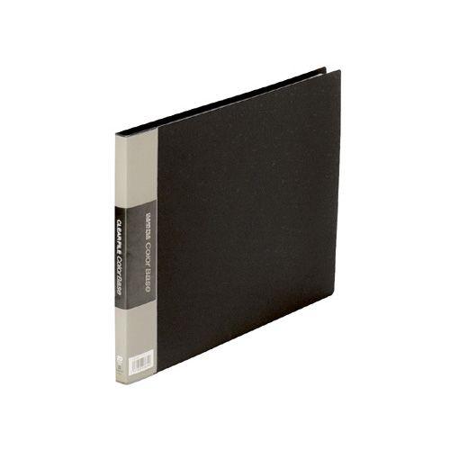 【キャッシュレス5%還元】KING JIM クリアーファイル カラーベース A4ヨコ 20ポケット 背幅14mm 黒 1セット(10冊)