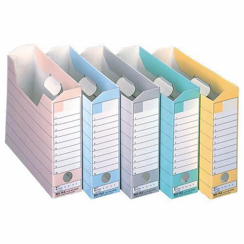 ライオン事務器 ボックスファイル ダンボール製 A4ヨコ 背幅78mm 5色 1セット(50冊:各色10冊)