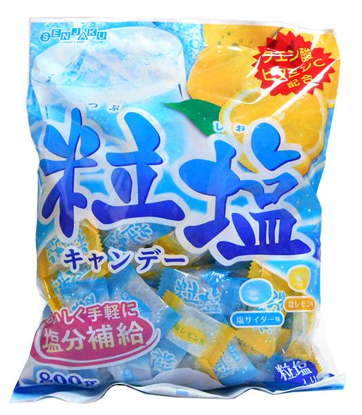 爽やかなサイダーとレモンに粒塩を組み合わせた おいしく塩分補給ができるキャンディーです クエン酸 ビタミンC配合 原材料名砂糖 送料無料でお届けします ... 粒塩キャンデー800g 扇雀飴 限定特価 イージャパンモール