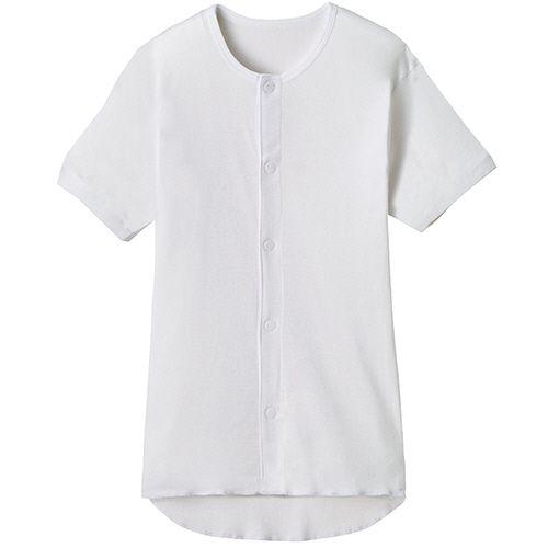 オオサキメディカル プラスハート ワンタッチ肌着 前開き (訳ありセール 格安) 半袖 ホワイト M 1枚 引き出物 紳士用
