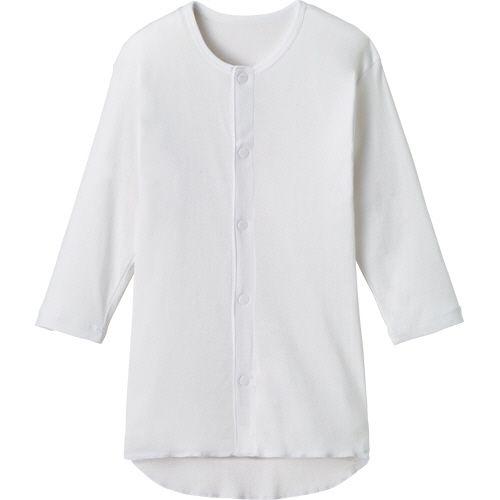 オオサキメディカル 日本最大級の品揃え プラスハート ワンタッチ肌着 前開き 七分袖 プレゼント 1枚 紳士用 ホワイト L
