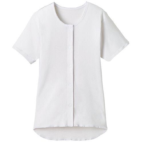 オオサキメディカル プラスハート ワンタッチ肌着 販売実績No.1 前開き 半袖 テレビで話題 婦人用 ホワイト 1枚 L