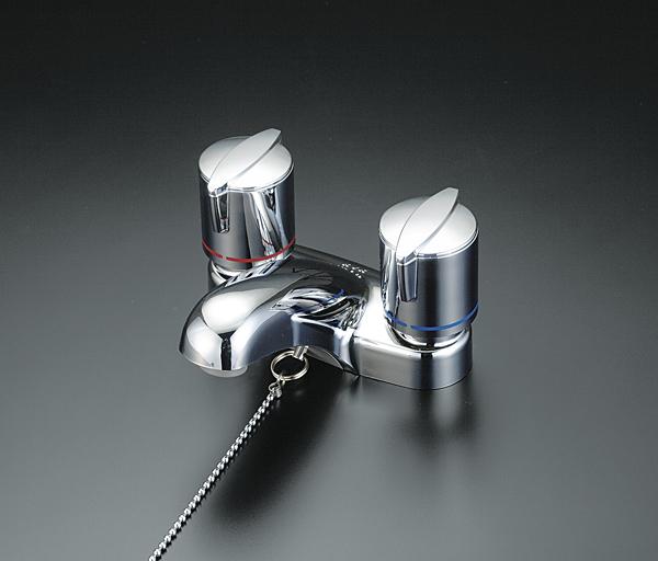 【キャッシュレス5%還元】KVK KM66ZGB 寒 洗面2ハンドル混合栓 栓付【イージャパンモール】
