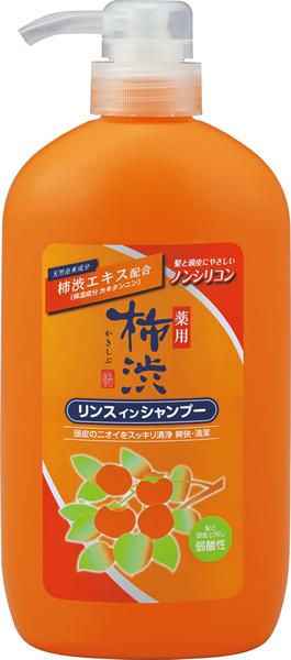 【キャッシュレス5%還元】熊野油脂 柿渋リンスインシャンプー 本体600ml ×16個【イージャパンモール】