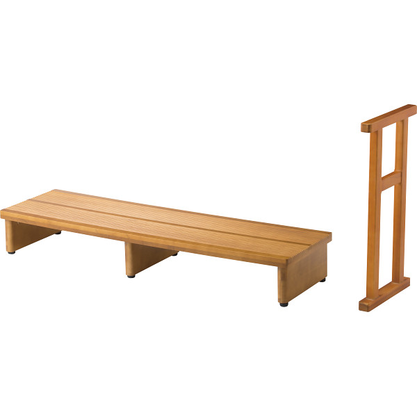 【送料無料】足裏爽やか玄関台木製手すり付 4164【代引不可】【ギフト館】