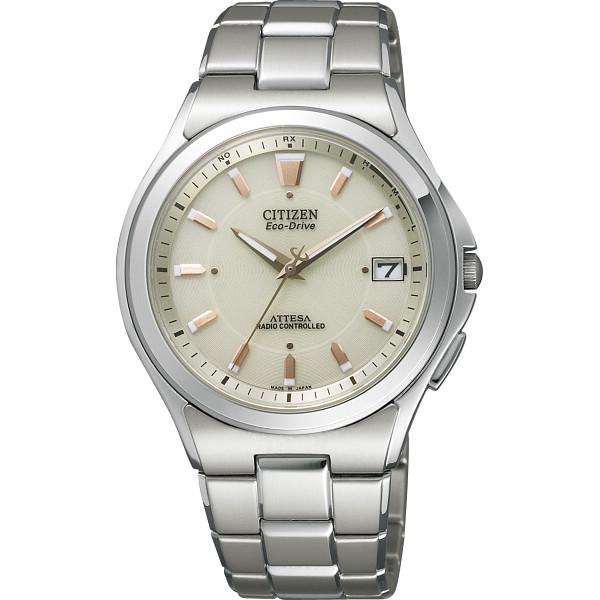 【送料無料】シチズン アテッサ メンズ電波腕時計 オフホワイト ATD53-2843【代引不可】【ギフト館】