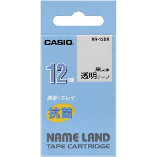 カシオ NAME 特売 LAND 日時指定 抗菌テープ 1個 透明 黒文字 12mm×5.5m