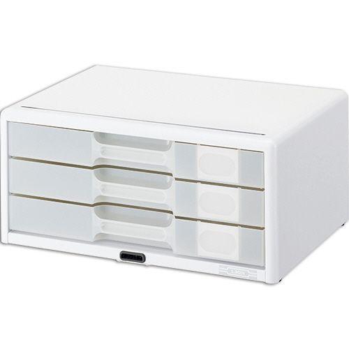 ライオン事務器 カギ付半透明レターケース カド丸タイプ A4ヨコ 3段 ホワイト 1台