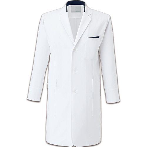 トンボ メンズコート(薬局衣) ストレッチラチネライト ホワイト×ネイビー LL 1着