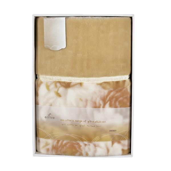 【送料無料】京都西川日本製 衿付きニューマイヤー毛布 ベージュ 07-K2514【代引不可】【ギフト館】