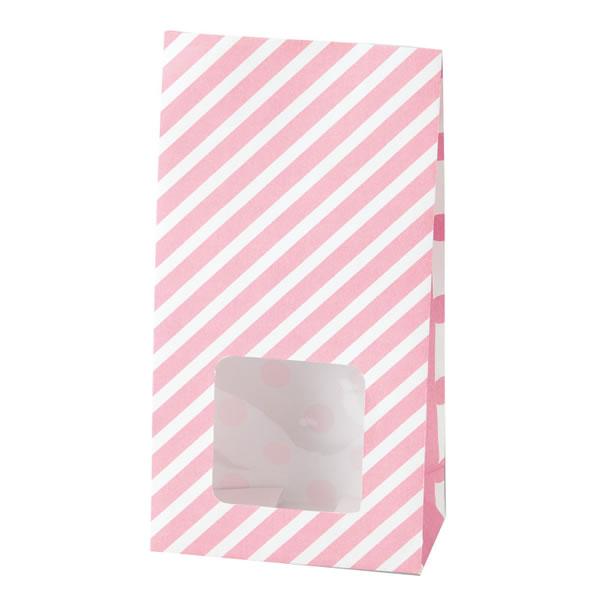 窓付袋 SS ストライプドット ピンク (2000枚)【イージャパンモール】