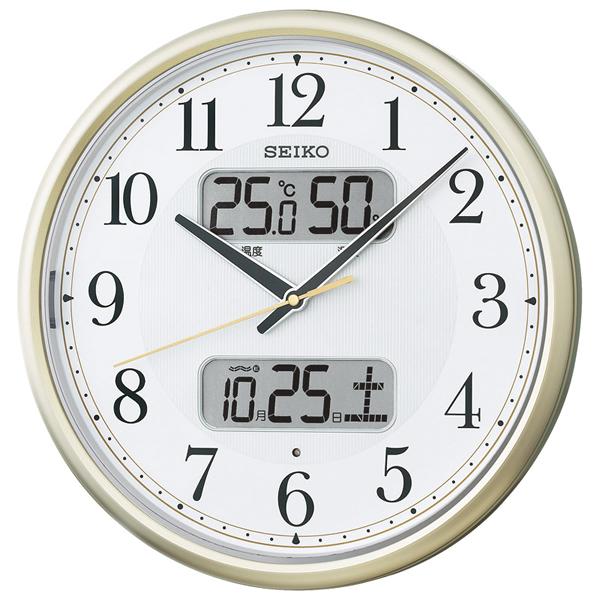 【送料無料】セイコー 夜間自動点灯カレンダー・温湿度付電波掛時計 KX384S【代引不可】【ギフト館】