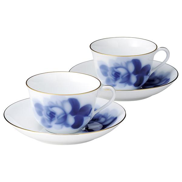 【送料無料】大倉陶園 ブルーローズ ティー・コーヒー碗皿ペアセット 78CR/8211【代引不可】【ギフト館】