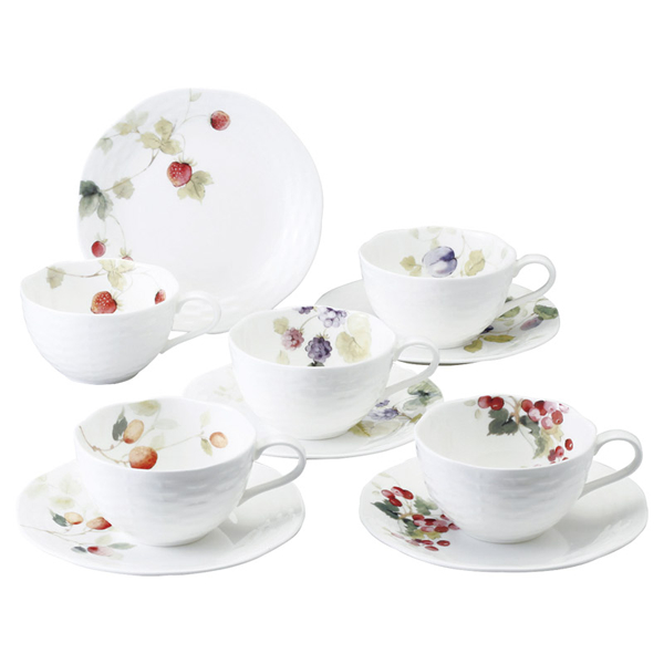 【送料無料】ナルミ ルーシーガーデン 5客アソートティー・コーヒー碗皿 96010-23067P【代引不可】【ギフト館】
