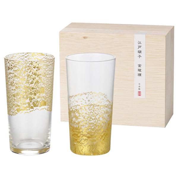 【送料無料】江戸硝子 金玻璃 冷酒杯吟醸揃え G641-T79【代引不可】【ギフト館】