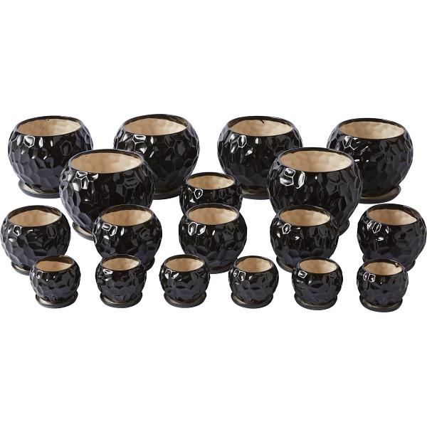【キャッシュレス5%還元】【送料無料】陶器植木鉢18点セット(受皿付) ブラック UH08/3DBK-6【代引不可】【ギフト館】