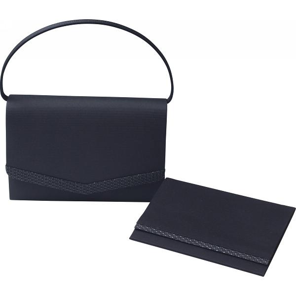【キャッシュレス5%還元】【送料無料】「シルク印伝」使い 日本製フォーマルバッグ(袱紗付) ブラック G14-132-131【代引不可】【ギフト館】