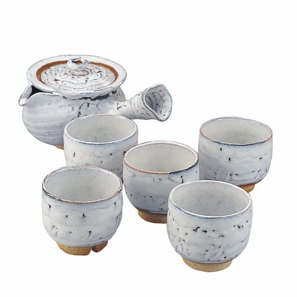 【キャッシュレス5%還元】【送料無料】萩焼 白萩 番茶器揃 2‐42【代引不可】【ギフト館】