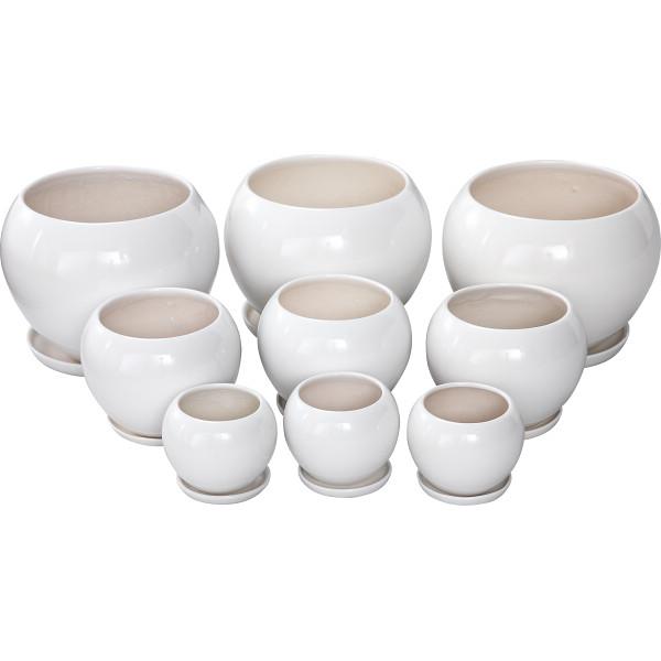 【キャッシュレス5%還元】【送料無料】陶器植木鉢9点セット(受皿付) ホワイト UH05/3DWH-3【代引不可】【ギフト館】