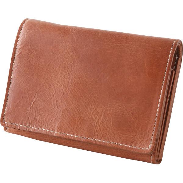 【送料無料】m,i,u,o.j ヌメ革 二つ折り財布 キャメル OJ-4022【代引不可】【ギフト館】