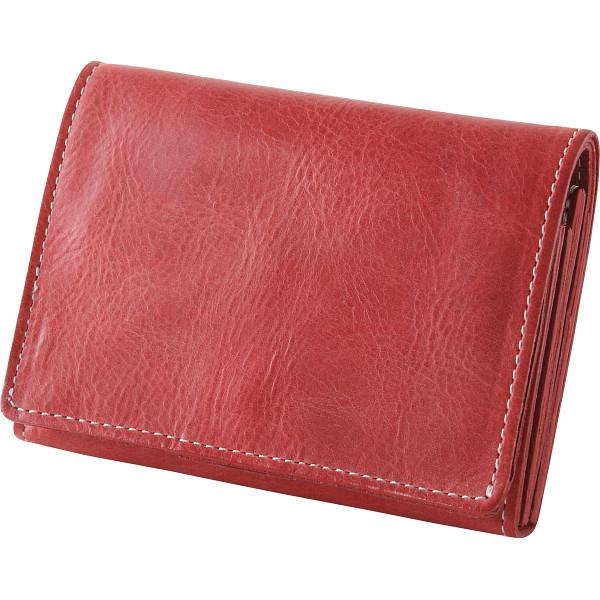 【送料無料】m,i,u,o.j ヌメ革 二つ折り財布 レッド OJ-4022【代引不可】【ギフト館】