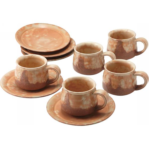 【キャッシュレス5%還元】【送料無料】萩焼 彩土 珈琲碗皿5客揃 17407【代引不可】【ギフト館】