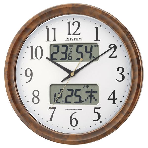 【キャッシュレス5%還元】【送料無料】RHYTHM ピュアカレンダー電波掛時計 4FY617SR23【代引不可】【ギフト館】