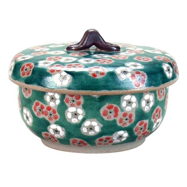 【送料無料】九谷焼 蓋付レンジ鉢(おひつ) 緑彩紅白梅 N141-15【生活雑貨館】
