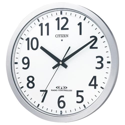 【キャッシュレス5%還元】【送料無料】【法人(会社・企業)様限定】シチズン 電波掛時計 シルバーメタリック(白) 1台